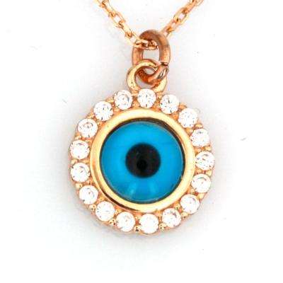 - Taşlı Altın Göz Kolye (14 Ayar)