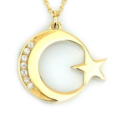 - Taşlı Altın küçük Türk Bayrağı Kolye (14 Ayar)