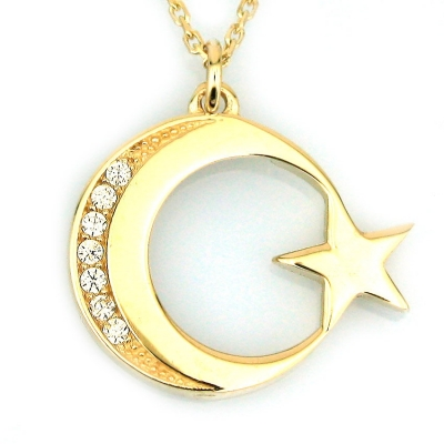 kuyumcunuznet - Taşlı Altın küçük Türk Bayrağı Kolye (14 Ayar)