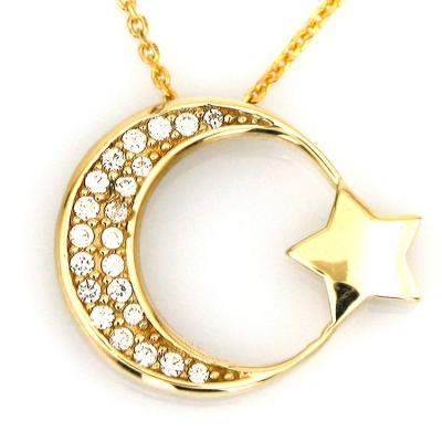 kuyumcunuznet - Taşlı Ay Yıldız Türk Bayrağı Altın Kolye (14 Ayar)