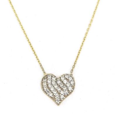 Taşlı Kalp Altın Kolye (14 Ayar)