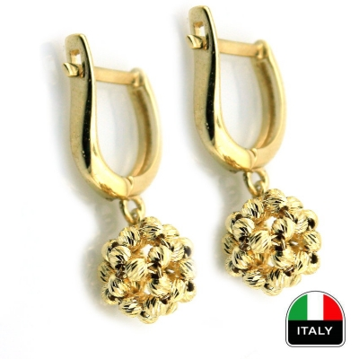 - Taşsız Sallantılı İtalyan Altın Top Küpe (14 Ayar)