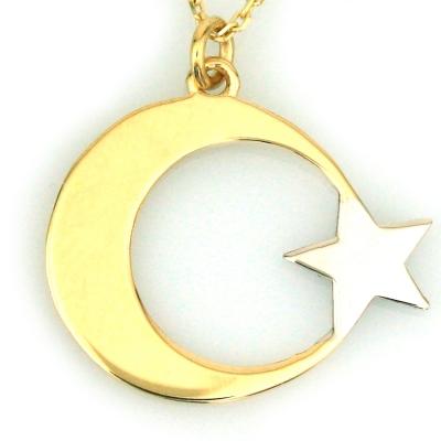 kuyumcunuznet - Taşsız Türk Bayrağı Altın Kolye (14 Ayar)