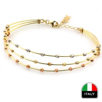- Taşsız Zarif Altın İtalyan Bilezik Kelepçe (14 Ayar)