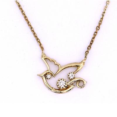 kuyumcunuznet - Tek Taş Montürlü Kuş Altın Kolye (8 Ayar)