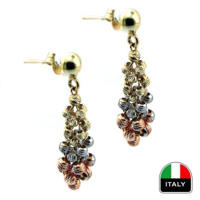 - Üç Renk İtalyan Salkım Altın Küpe (14 Ayar)
