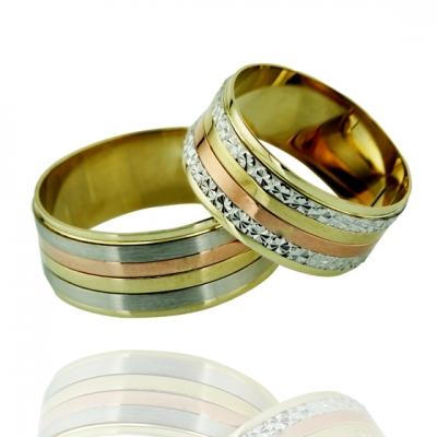 - Üç Renkli Klasik Altın Alyans (14 Ayar)