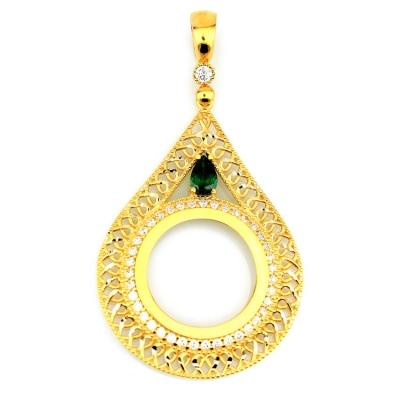 kuyumcunuznet - Yeşil Taşlı Altın Çerçeve (14 Ayar)