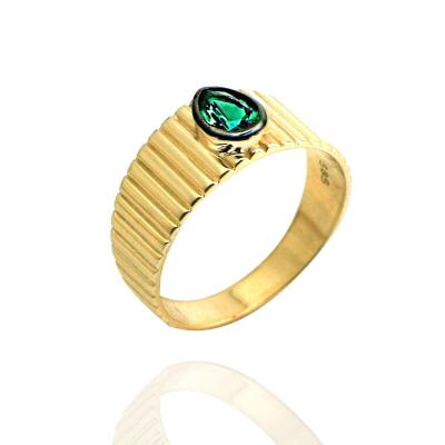kuyumcunuznet - Yeşil Taşlı Altın Tasarım Yüzük (14 Ayar)