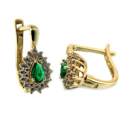 - Yeşil Taşlı Anturaj Altın Küpe (14 Ayar)
