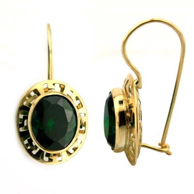 kuyumcunuznet - Yeşil Taşlı Sallantılı Altın Küpe (14 Ayar)