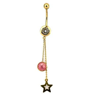kuyumcunuznet - Yıldızlı Altın Göbek Piercingi (14 Ayar)