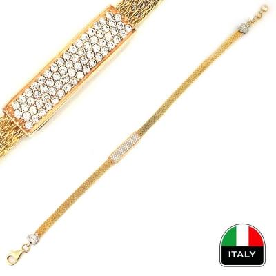 - Zarif Şık Taşlı İtalyan Altın Bileklik Künye (14 Ayar)