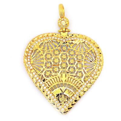kuyumcunuznet - 22 Ayar Hint İşi Kalpli Altın Kolye ucu