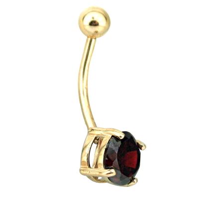 kuyumcunuznet - Alev Kırmızısı Taşlı Altın Göbek Piercing (14 Ayar)