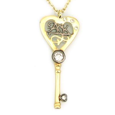 kuyumcunuznet - Altın Anahtar Kalp Sevgili Kolyesi (8 Ayar)