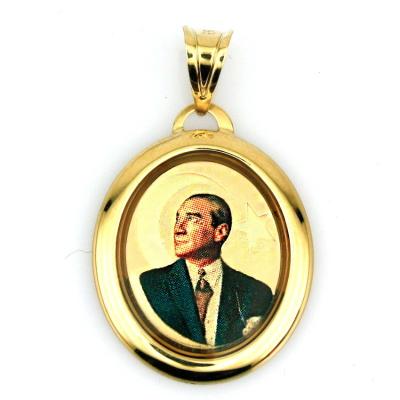 kuyumcunuznet - Altın Atatürk Kolye Ucu (14 Ayar)