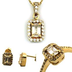Altın Baget Taşlı Mini Takı Seti (14 Ayar) - Thumbnail