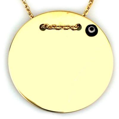 kuyumcunuznet - Altın Büyük Plaka Kolye (14 Ayar) Boncuklu