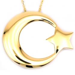 Altın Büyük Türk Bayrağı Ay Yıldız Kolye (14 Ayar) - Thumbnail