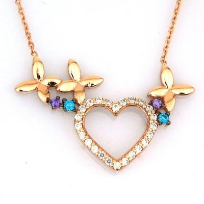 kuyumcunuznet - Altın Çiçekli Kalp Sevgili Kolyesi (14 Ayar)