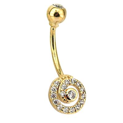 kuyumcunuznet - Altın Dolu Tasarım Göbek Piercing (14 Ayar)