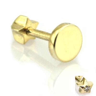 Altın Düz Plaka Helix Tragus Piercing Küpe (14 Ayar)