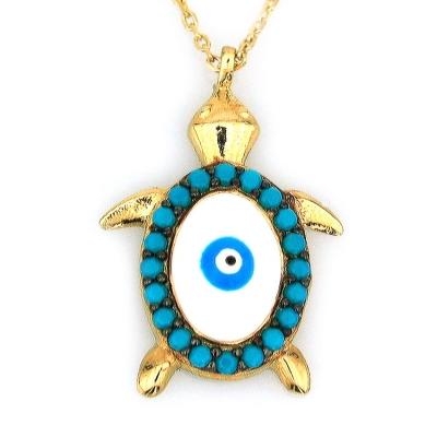 Altın Gözlü Kaplumbağa Kolye (14 Ayar)