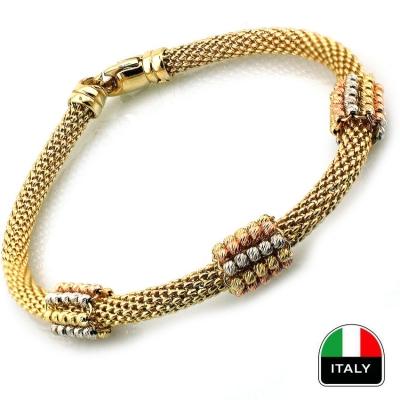 kuyumcunuznet - Altın Hasır El İşi İtalyan Bileklik Künye (14 Ayar)