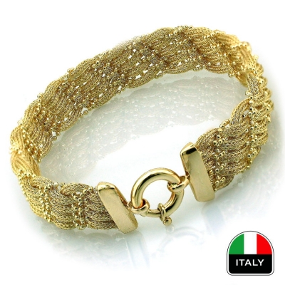 kuyumcunuznet - Altın Hasır İtalyan Tasarım Bileklik Künye (14 Ayar)