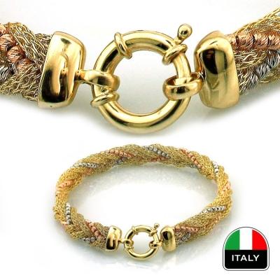 kuyumcunuznet - Altın Hasır Örmesi İtalyan Toplu Tasarım Bileklik Künye (14 Ayar)