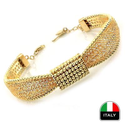 kuyumcunuznet - Altın İtalyan Hasırlı ve Toplu Kelepçe Bilezik (14 Ayar)