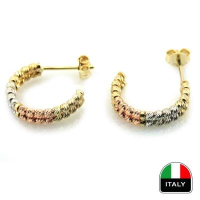 Altın İtalyan İki Sıra Taşsız Küpe (14 Ayar)