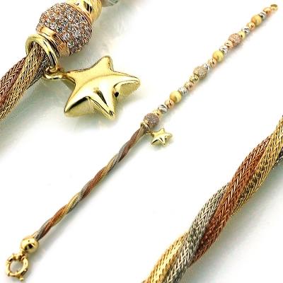kuyumcunuznet - Altın İtalyan Tasarım Sallantılı Yıldız Bileklik Künye(14 Ayar)