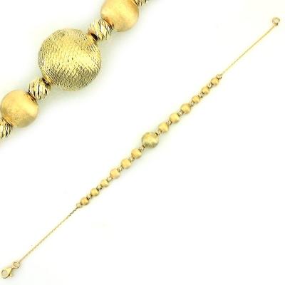kuyumcunuznet - Altın İtalyan Tasarım Top Künye Bileklik (14 Ayar)