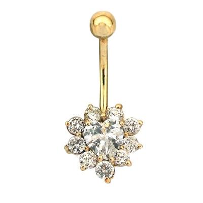 kuyumcunuznet - Altın Kalpli Gösterişli Göbek Piercing (14 Ayar)