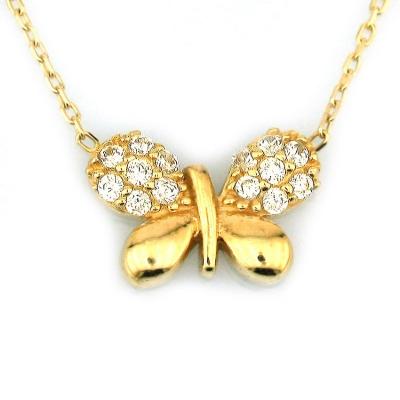 kuyumcunuznet - Altın Küçük Taşlı Kelebek Kolye (14 Ayar)