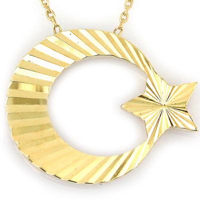 - Altın Lazerli Ay Yıldız Türk Bayrağı Kolye (14 Ayar)