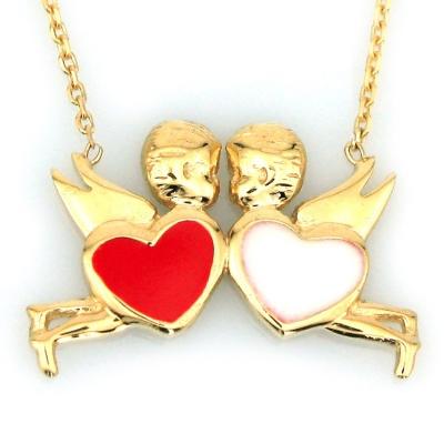 kuyumcunuznet - Altın Melekli Kalp Sevgili Kolyesi (14 Ayar)