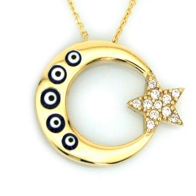 kuyumcunuznet - Altın Nazarlı Türk Bayrağı Ay Yıldız Kolye (14 Ayar)