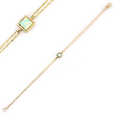 kuyumcunuznet - Altın Opal Taşlı Bileklik Künye (14 Ayar)