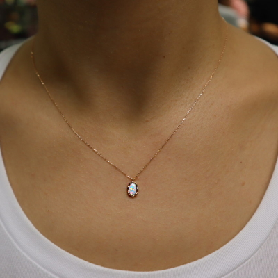Altın Opal Taşlı Kolye (14 Ayar)