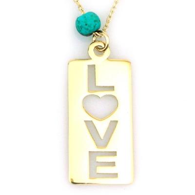 kuyumcunuznet - Altın Plaka Love Aşk Kolyesi (14 Ayar)