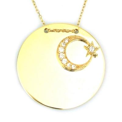kuyumcunuznet - Altın Plaka Türk Bayraklı Ay Yıldız Kolye (14 Ayar)