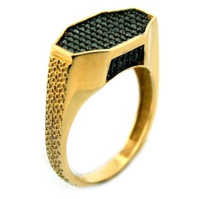 kuyumcunuznet - Altın Siyah Taşlı Erkek Yüzüğü (14 Ayar)