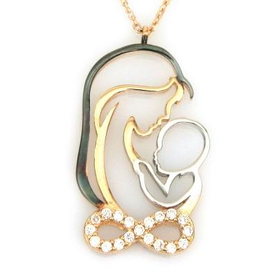 kuyumcunuznet - Altın Sonsuzluk Anne Çocuk Doğum Kolye (14 Ayar)