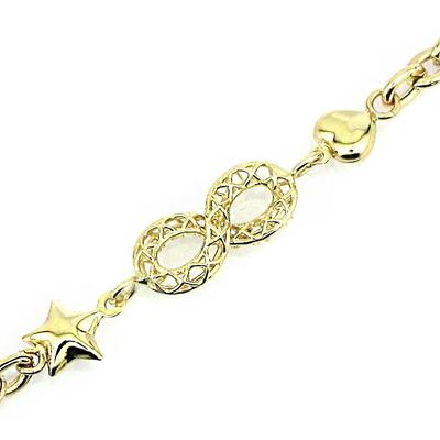 Altın Sonsuzluk Yıldız Kalp Künye Bileklik (14 Ayar)