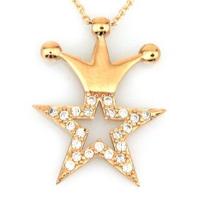 kuyumcunuznet - Altın Taçlı Yıldız Kolye (14 Ayar)