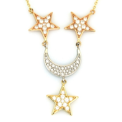 kuyumcunuznet - Altın Tasarım Ay Yıldız Arpaş Kolye (14 Ayar)