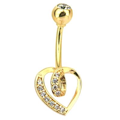 kuyumcunuznet - Altın Tasarım Kalpli Göbek Piercing (14 Ayar)